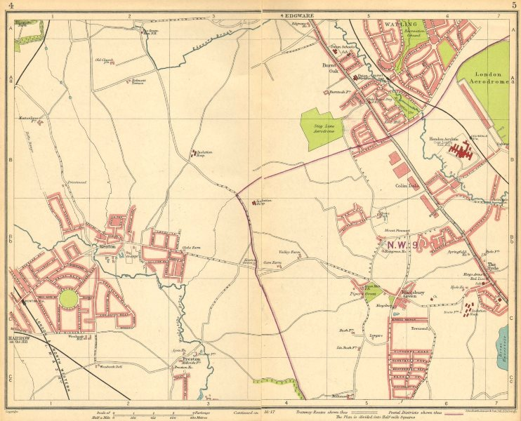Associate Product LONDON NW.Colindale Harrow-on-the-Hill Burnt Oak Kingsbury Queensbury 1930 map