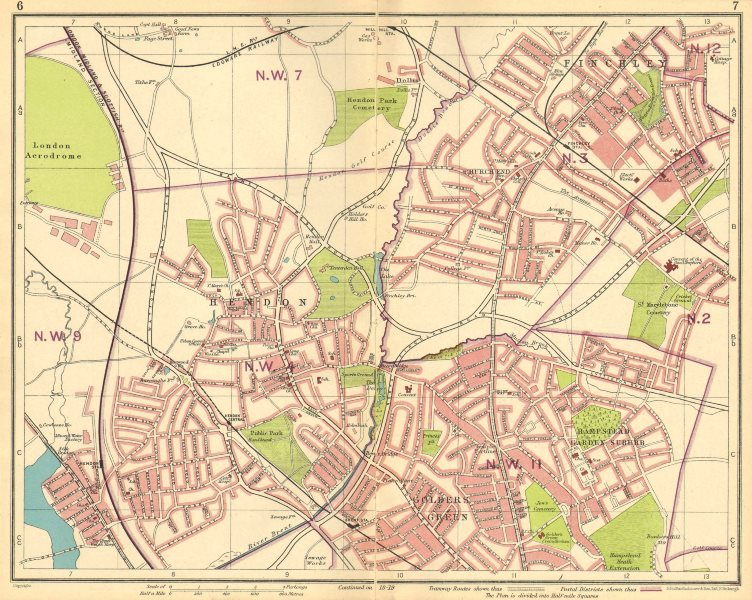 Associate Product LONDON NW. Hendon Finchley Golder's Green Hampstead Garden Suburb 1930 map