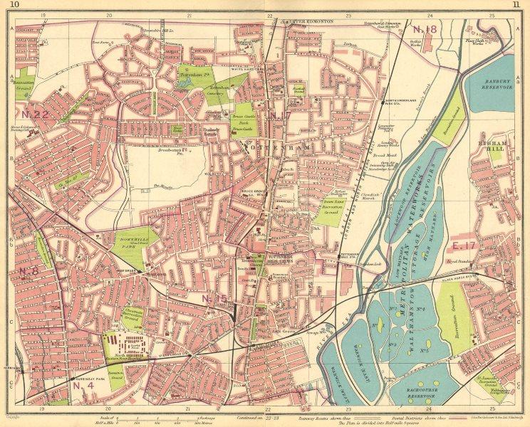 Associate Product LONDON N. Wood Green Tottenham Harringay Higham Hill Upper Edmonton 1930 map