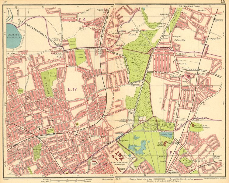 Associate Product LONDON NE.Walthamstow Snaresbrook Wanstead Higham Hill Woodford Green 1930 map