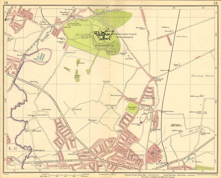 Associate Product LONDON NE.Fulwell Cross Barkingside Fairlop Newbury Park Woodford Brg 1930 map