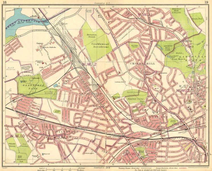 Associate Product LONDON NW.Cricklewood Aerodrome Willesden Green Hampstead Brondesbury 1930 map