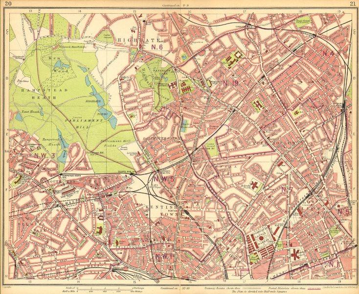 Associate Product LONDON N.Hampstead Holloway Highgate Kentish Town Belsize Park Camden 1930 map