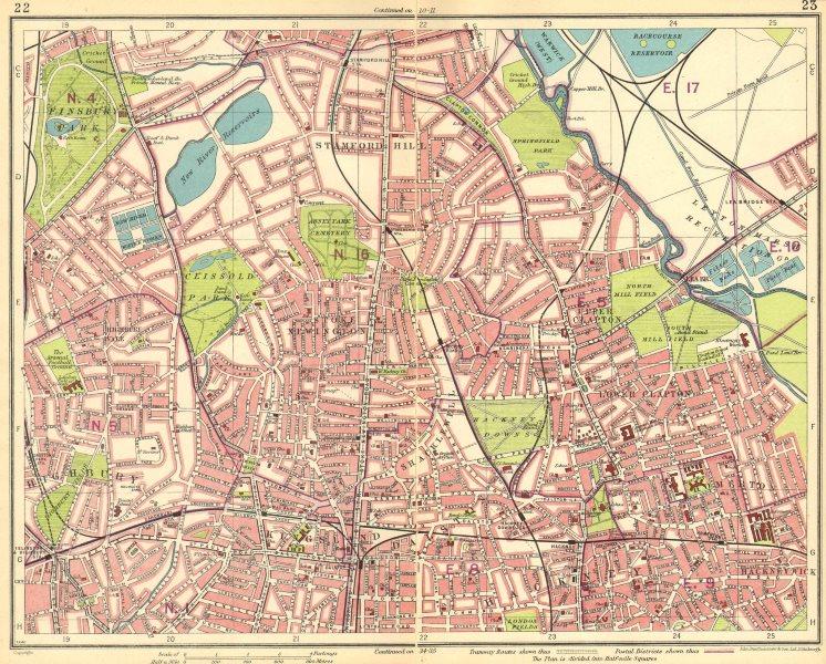 LONDON N.Finsbury Park Clapton Highbury Stamford Hill Stoke Newington 1930 map