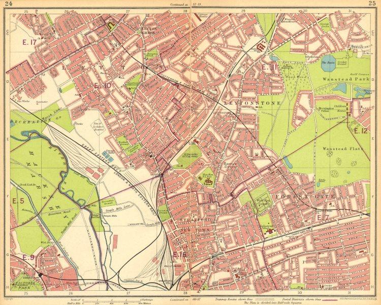 Associate Product LONDON NE.Leyton Leytonstone Stratford Forest Gate Wanstead Hackney 1930 map