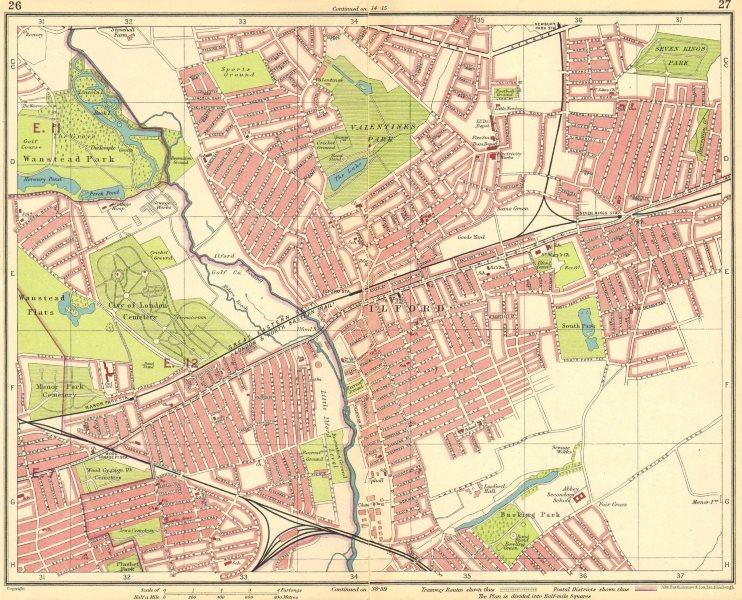 Associate Product LONDON NE. Wanstead Ilford Manor Park Seven Kings Wood Grange 1930 old map