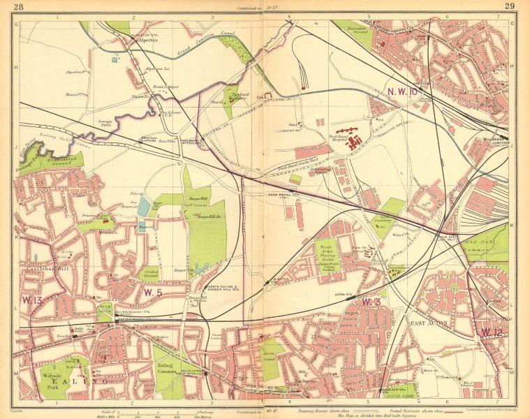 Associate Product LONDON W.Harlesden Willesden Jnctn Acton Ealing Alperton Park Royal 1930 map