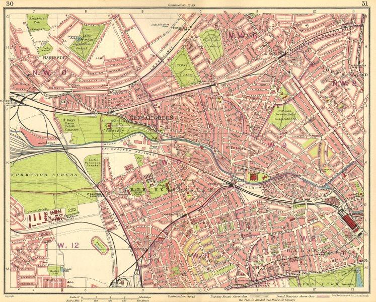 Associate Product LONDON. Kilburn St John's Wood Maida Vale Bayswater Notting Hill 1930 old map