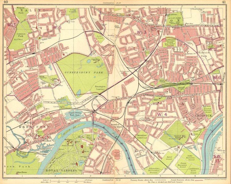 Associate Product LONDON W.Ealing Brentford Acton Chiswick Bedford Park Kew Gunnersbury 1930 map