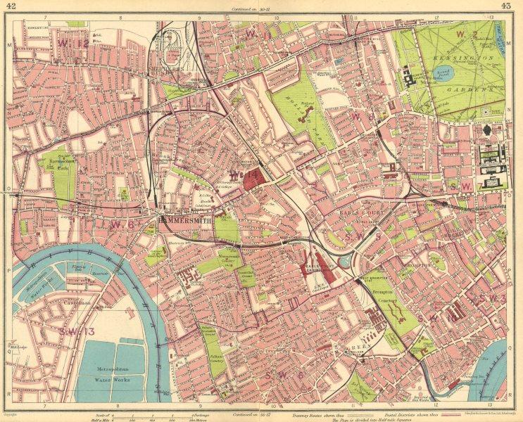 Associate Product LONDON.Hammersmith Kensington Shepherds Bush Earls Court Notting Hill 1930 map