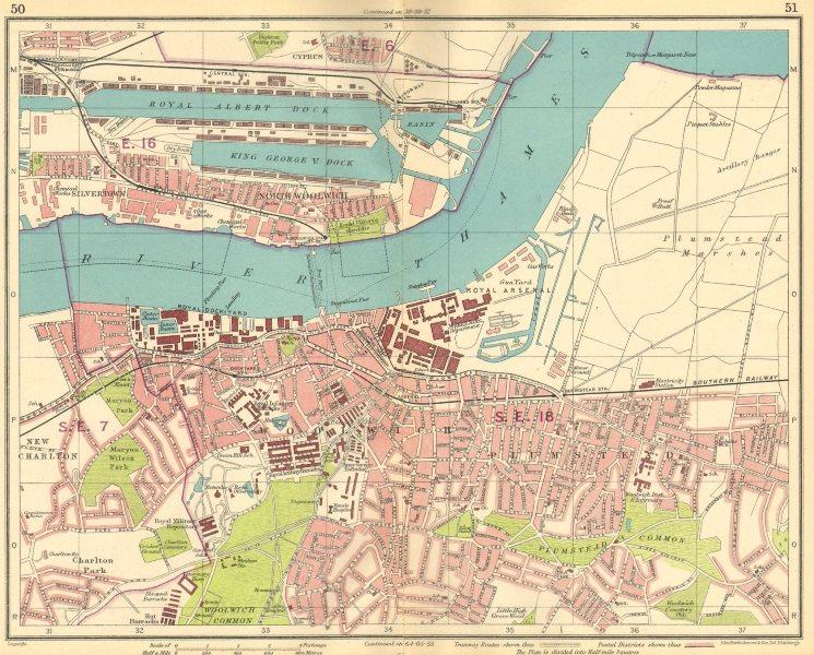 Associate Product LONDON E. Albert Dock Woolwich Plumstead Charlton Beckton Silvertown 1930 map
