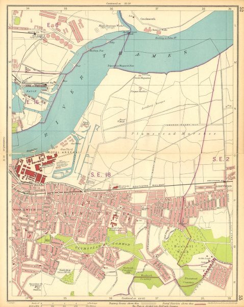 Associate Product LONDON E. Plumstead Woolwich Arsenal Abbey Wood Beckton Manor Way 1930 old map