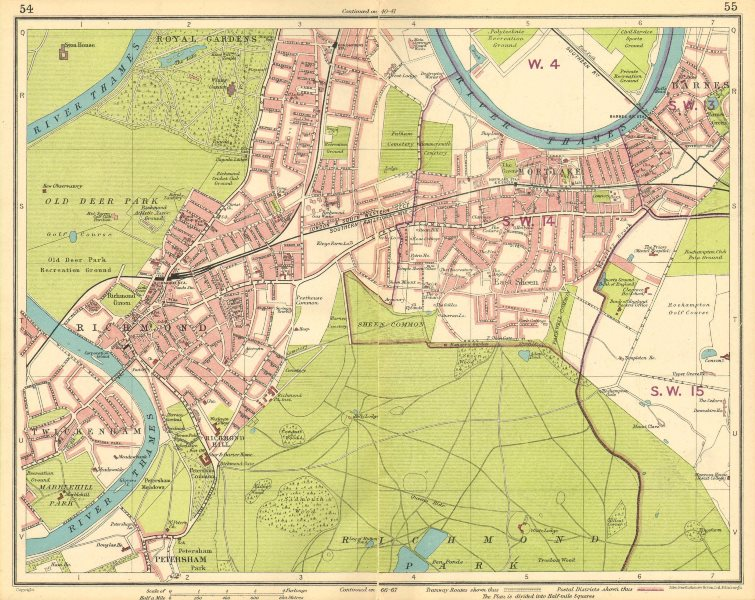Associate Product LONDON SW. Richmond Mortlake Kew Twickenham Barnes E Sheen Petersham 1930 map