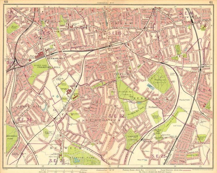 Associate Product LONDON S.Camberwell Peckham Denmark/Herne Hill Dulwich New Cross Gate 1930 map