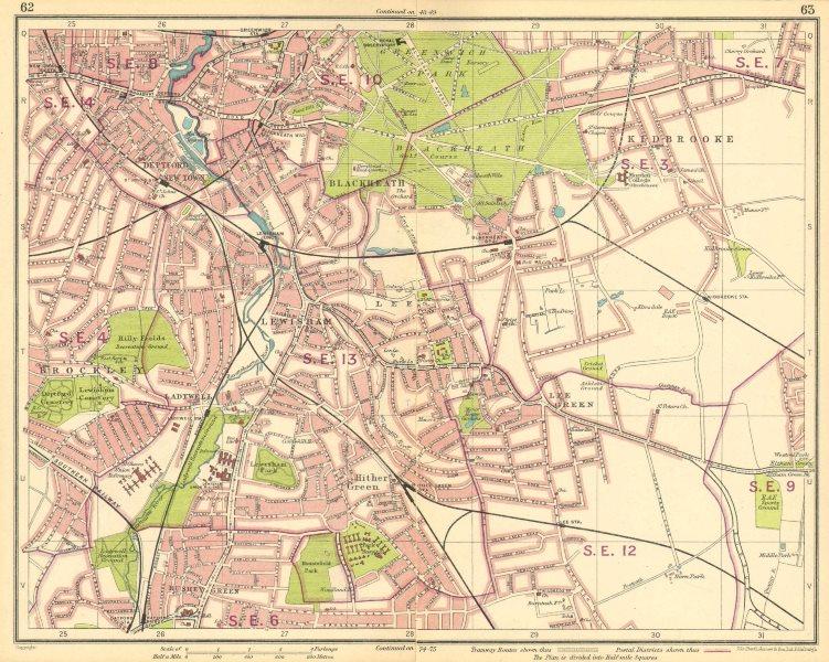 Associate Product LONDON SE. Deptford Blackheath Greenwich Kidbrooke Brockley New Cross 1930 map