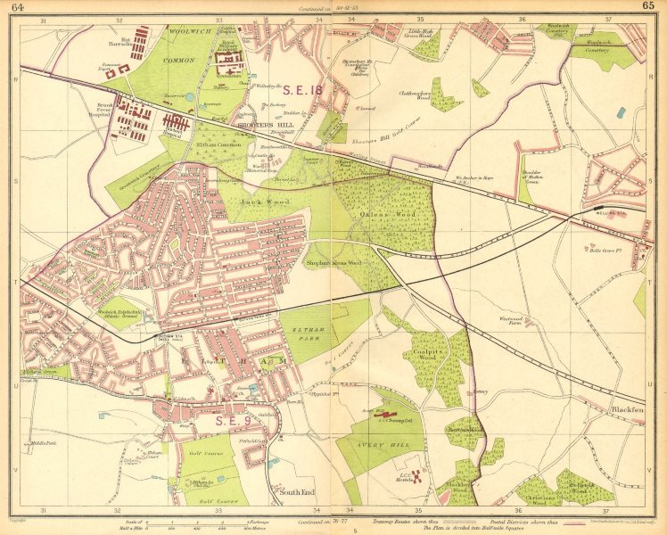 Associate Product LONDON SE. Eltham Shooters Hill South End Welling Blackfen Avery Hill 1930 map