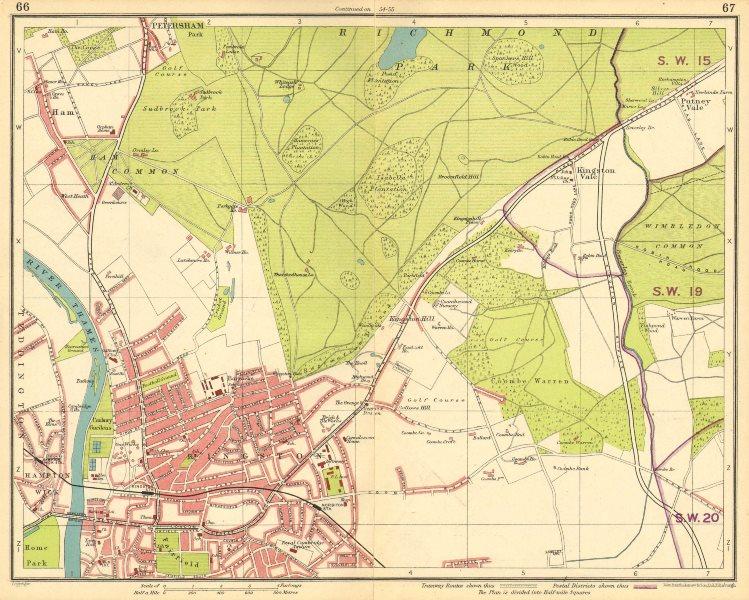 Associate Product LONDON SW. Richmond Wimbledon Putney Twickenham Kingston-upon-Thames 1930 map