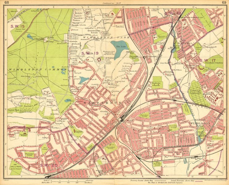 Associate Product LONDON SW. Wimbledon Summerstown Southfields Wandsworth Merton 1930 old map