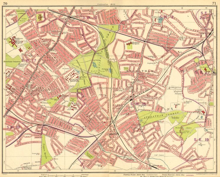 Associate Product LONDON S. Tooting Streatham Balham Tulse Hill Norbury Manor Park 1930 old map