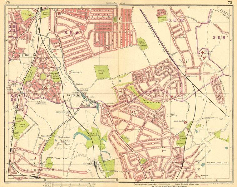 Associate Product LONDON SE. Rushey Green Grove Park Catford Sydenham Beckenham Bromley 1930 map