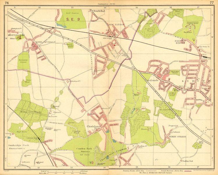 Associate Product LONDON SE. Chislehurst Sidcup Eltham Mottingham Elmstead Wood 1930 old map