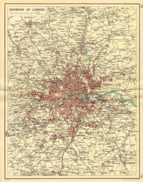 Associate Product LONDON & HOME COUNTIES. Railways & roads. BARTHOLOMEW 1930 old vintage map