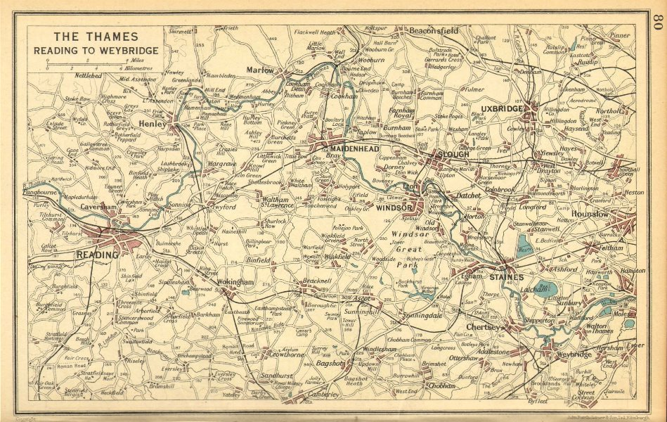Associate Product THAMES VALLEY.Reading Maidenhead Windsor Uxbridge Henley Marlow 1930 old map