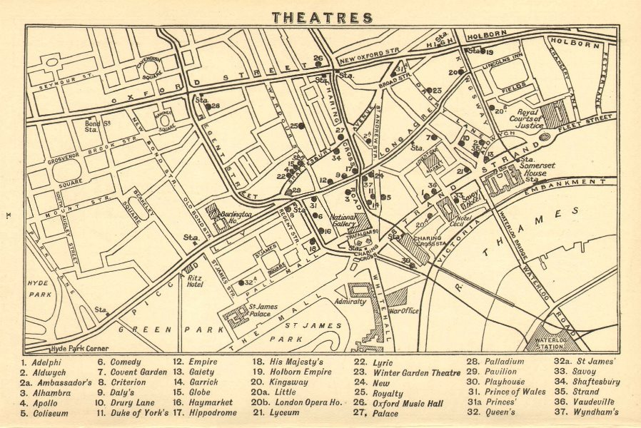 Associate Product WEST END THEATRES. Covent Garden Shaftesbury Avenue &c  1921 old vintage map