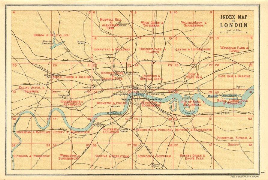 LONDON. Index map of London. Railways. BARTHOLOMEW 1921 old vintage chart