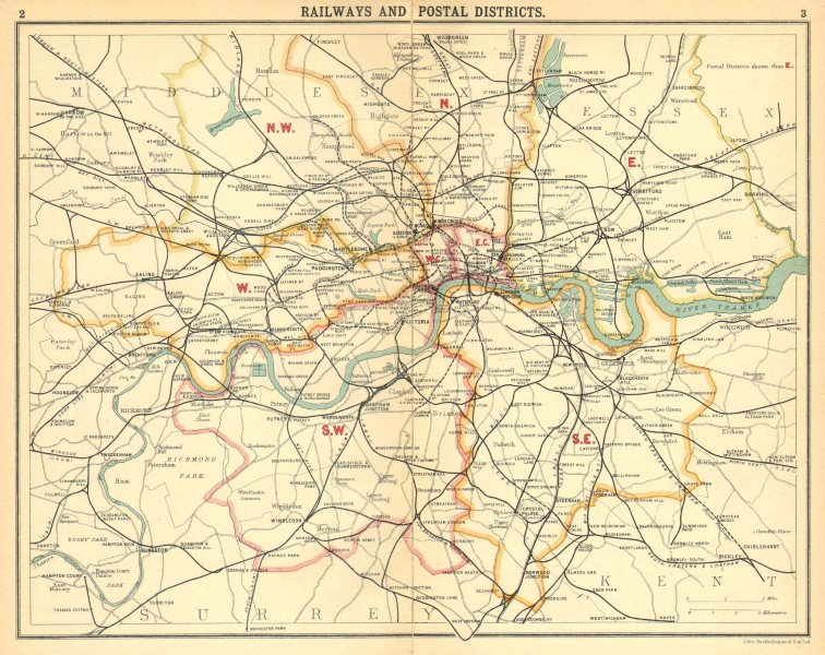Associate Product LONDON.Railways Postal Districts.Underground tube lines 1921 old vintage map
