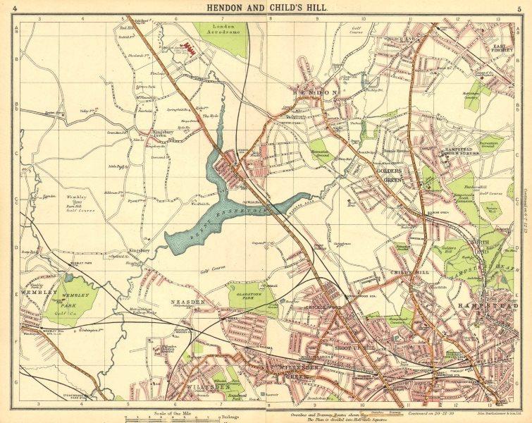 Associate Product LONDON N.Hendon Childs Hill Hampstead Wembley Golders Green Willesden 1921 map