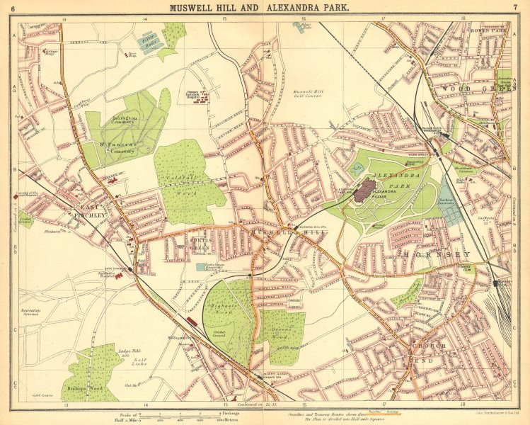 Associate Product LONDON N. Muswell Hill Alexandra Park Wood Green Finchley Crouch End 1921 map
