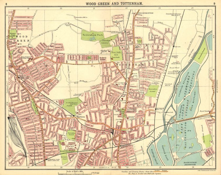 Associate Product LONDON N. Wood Green Tottenham Harringay Higham Hill Upper Edmonton 1921 map