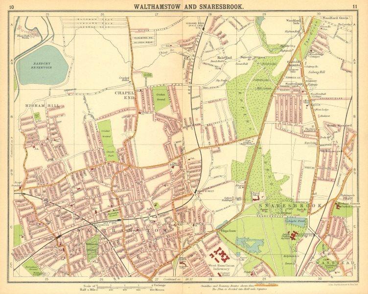 Associate Product LONDON NE.Walthamstow Snaresbrook Wanstead Higham Hill Woodford Green 1921 map