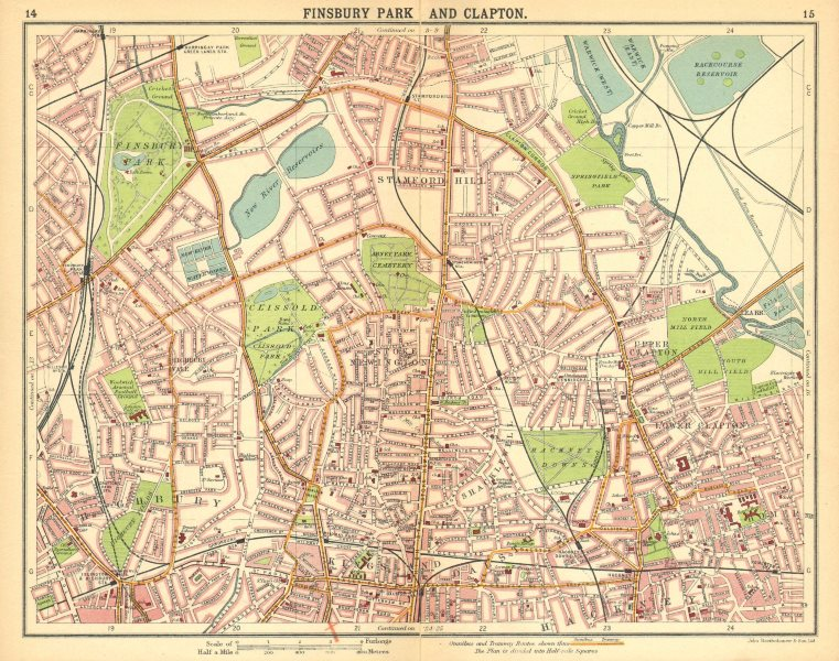 LONDON N.Finsbury Park Clapton Highbury Stamford Hill Dalston 1921 old map