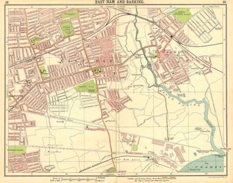 Associate Product LONDON E. East Ham Barking Plaistow Beckton Cyprus Plashet Upton Park 1921 map