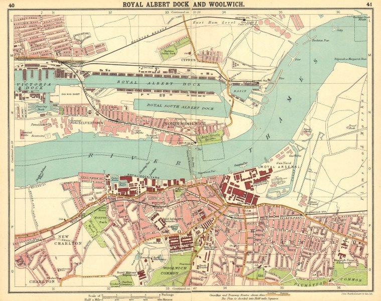 Associate Product LONDON E. Albert Dock Woolwich Plumstead Charlton Beckton Silvertown 1921 map