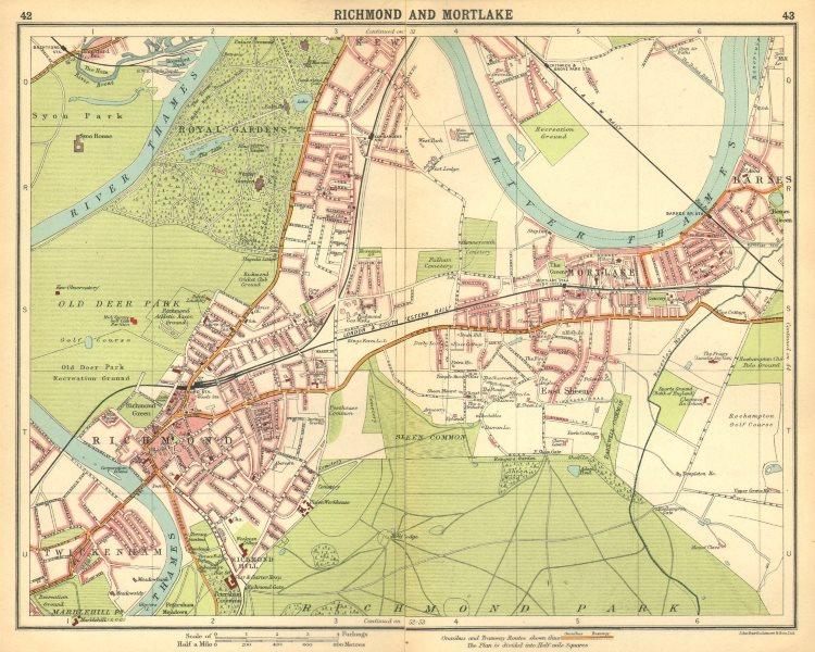 London Sw Map.Details About London Sw Richmond Mortlake Kew Twickenham Barnes E Sheen Petersham 1921 Map