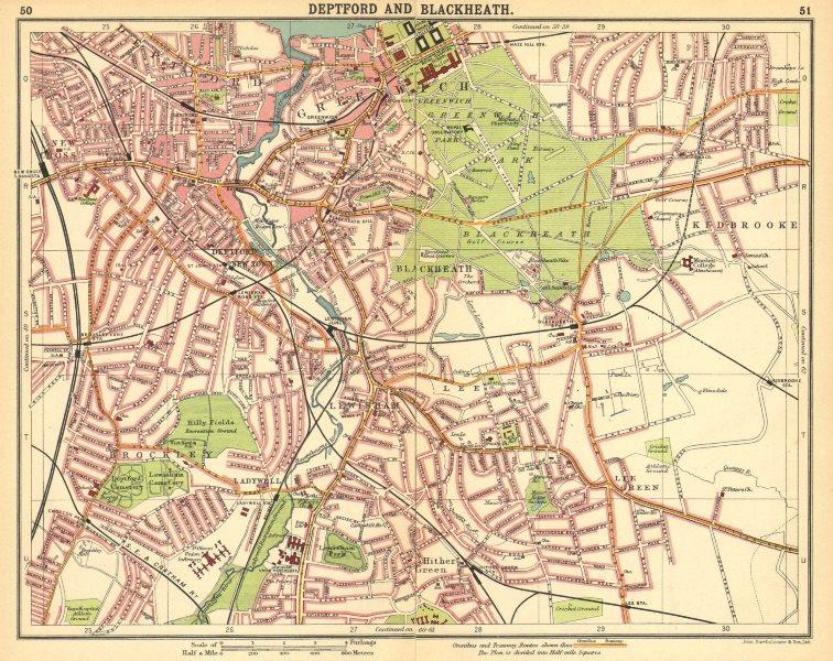 Associate Product LONDON SE. Deptford Blackheath Greenwich Kidbrooke Brockley New Cross 1921 map