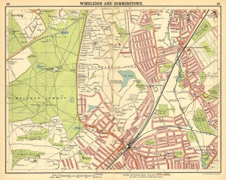 Associate Product LONDON SW. Wimbledon Summerstown Southfields Wandsworth Merton 1921 old map