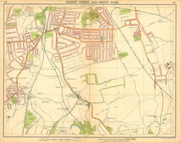 Associate Product LONDON SE. Rushey Green Grove Park Catford Lower Sydenham Beckenham 1921 map