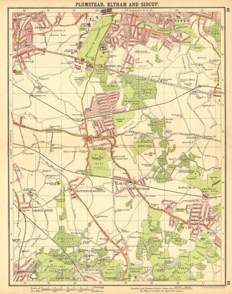LONDON SE. Plumstead Eltham Sidcup Mottingham Kidbrook Chislehurst 1921 map