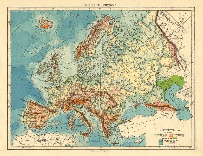 EUROPE PHYSICAL. Relief Ocean depths Key mountains Plains. JOHNSTON 1899 map