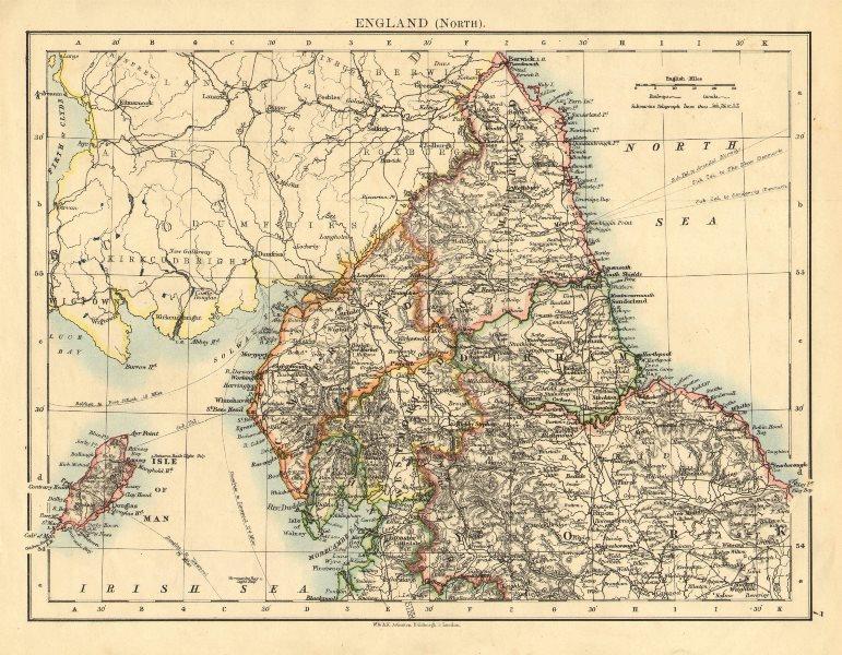 Associate Product NORTHERN ENGLAND. Northumbs Durham Cumbs Westm N Yorks IOM. JOHNSTON 1899 map