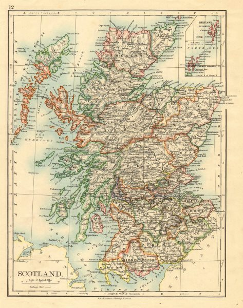 Associate Product SCOTLAND. Counties. Undersea telegraph cables. JOHNSTON 1899 old antique map