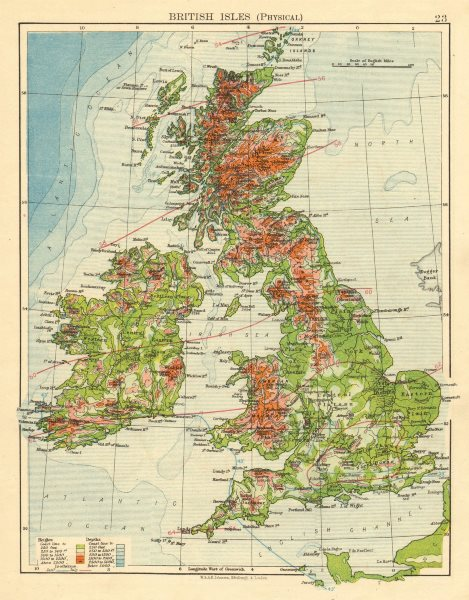 Associate Product BRITISH ISLES RELIEF. Showing isotherms in January & July. JOHNSTON 1899 map