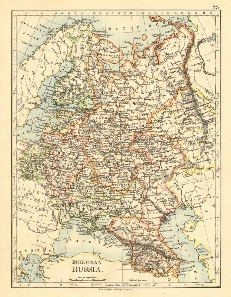 Associate Product EUROPEAN RUSSIA. Shows Great/Little/West/South Russia.Poland.JOHNSTON 1899 map