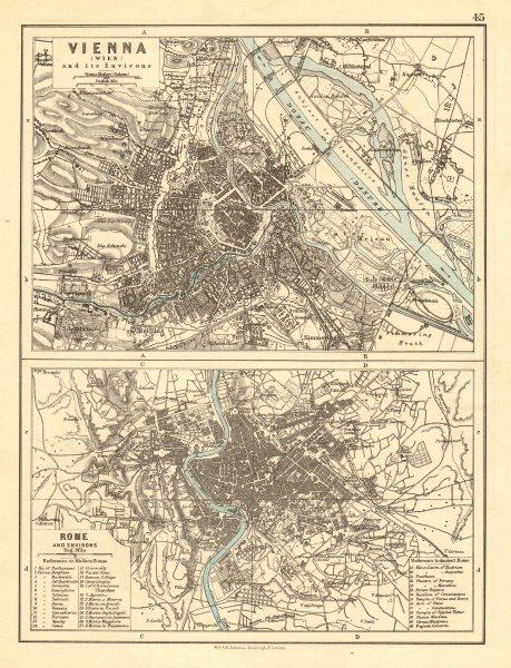 Associate Product VIENNA & ROME. City plans. Wien. Roma. Austria. Italy. JOHNSTON 1899 old map
