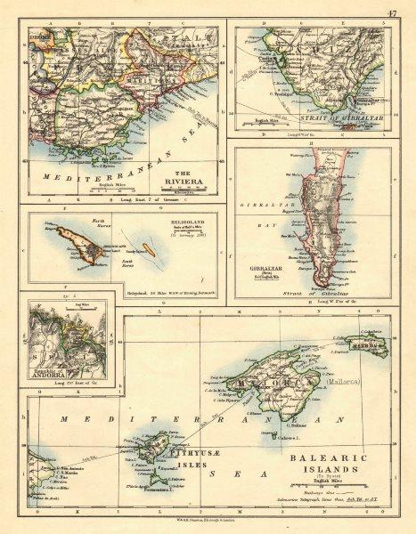 Associate Product EUROPE.Balearic islands.Heligoland Gibraltar Andorra Riviera.JOHNSTON 1899 map