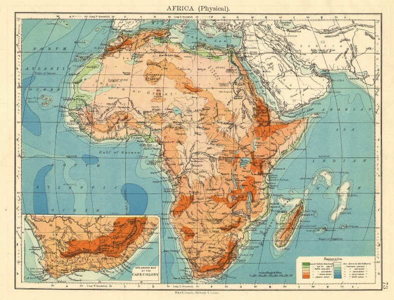 Associate Product AFRICA PHYSICAL. Relief ocean depths rivers. JOHNSTON 1899 old antique map